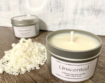 Unscented Soy Wax Candle, Handmade Candle With Reusable Eco Friendly Tin Holder, Choose 4 Or 8 Ounce