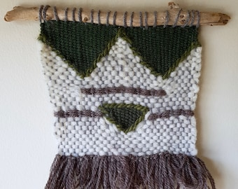 Woven Wall Hanging with Geometric Details, fringe and driftwood. Green, brown, white, natural, earthy.