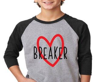 Heart Breaker---BOYS or Girls Raglan--Valentine's shirt, one piece--boys, infant--FREE SHIPPING