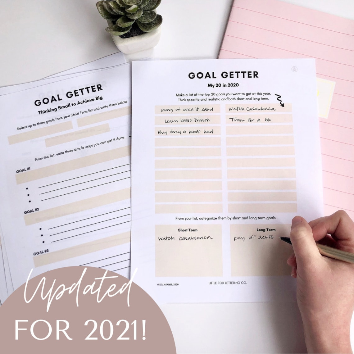 I created this helpful e-journal last year to help me see and break down my long and short-term goals and make them more achievable. By breaking them down and thinking of ways to get them done, I found myself really making headway.