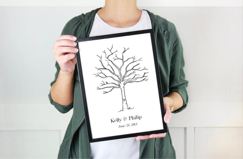 Thumbprint Tree Guest Book  Ready to Ship Wedding Guest Book Vertical Print