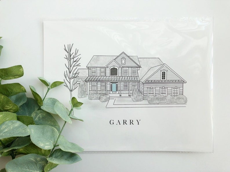 Custom Illustrated Print  House Drawing  Home/Building Ink image 0