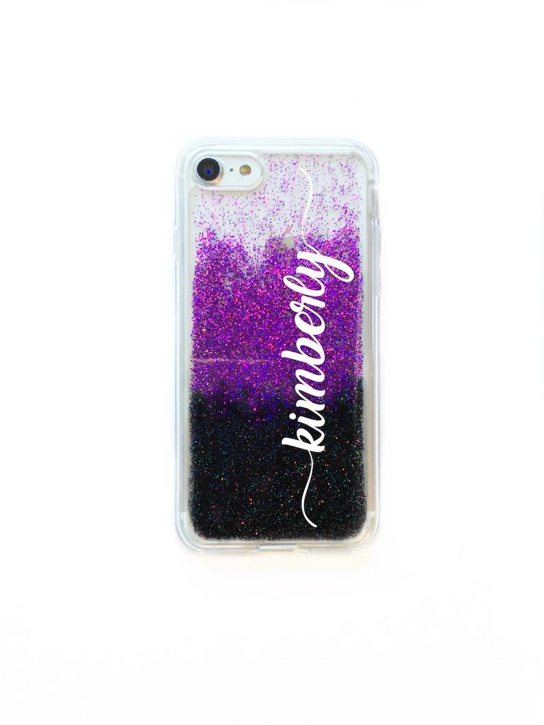 brand new 62812 219ca Black & Purple Glitter Phone Case, Google Pixel Xl Case, iPhone 8 case,  Pixel 2 Case, Personalized Name Phone Case, Monogr