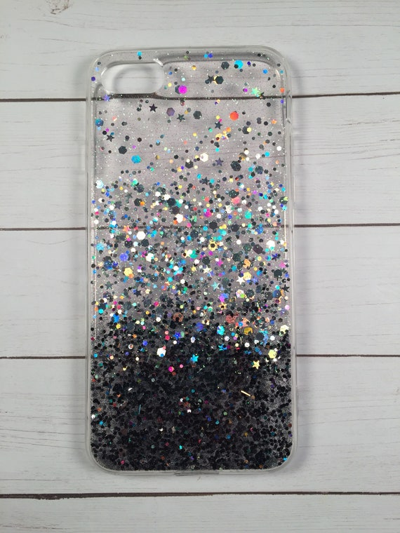online store fda64 a3b0c Black to Silver Ombre Glitter Phone Case, iPhone 8 Case, Samsung Galaxy S8  Case, Google Pixel Case, Holographic Phone Case, Pixel Phone Case
