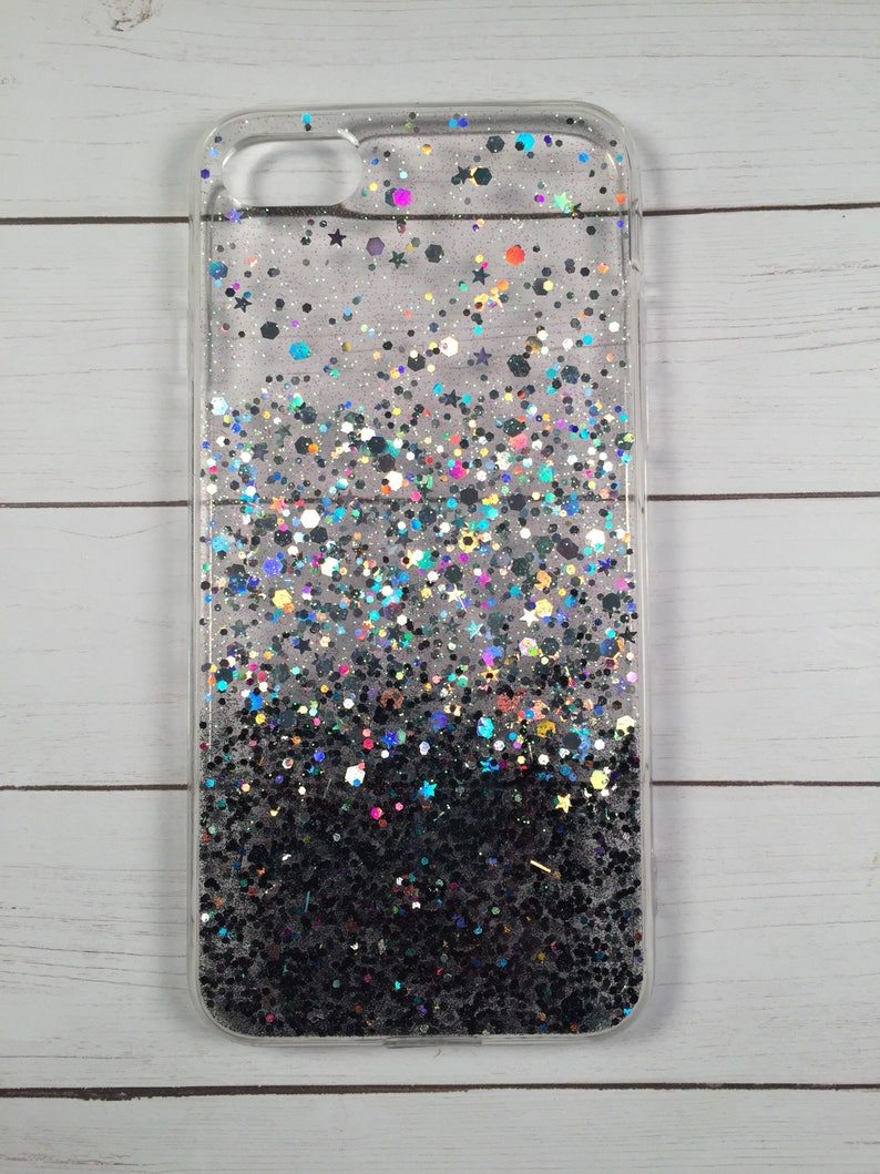 Black to Silver Ombre Glitter Phone Case iPhone 8 Case  2853d404dc