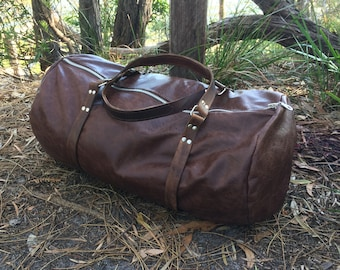 Hand-Stitched Leather Duffel Bag