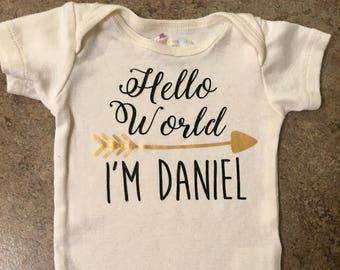 Hello World onesie, personalized baby onesie, baby bodysuit, custom onesie, arrow, new baby