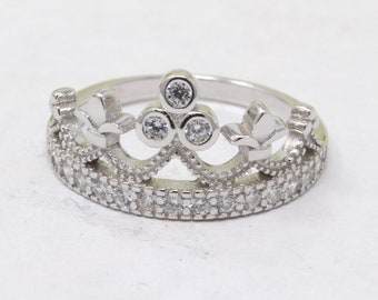 Crown Ring 925 Sterling Silver Round Simulated Diamond King Queen Crown  Princess 911a49a4740c