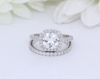 Halo Jewelry Set Wedding Bridal Cushion Round Simulated Aquamarine 925 Sterling Silver Choose Color