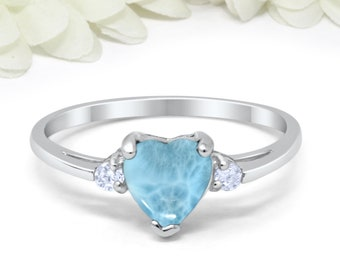 100/% Natural Heart Dominican Larimar Inlay 925 Sterling Silver Ring sizes 6-9