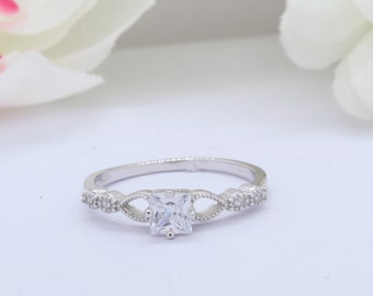 3mm Stackable Eternity Art Deco Petite Dainty Band Wedding Engagement Ring Princess Cut Round Simulated Diamond CZ Solid 925 Sterling Silver