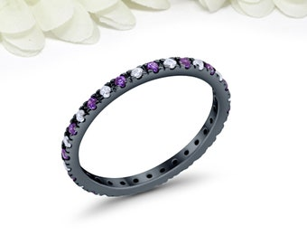 bc77edcb8 2mm Full Eternity Round Amethyst Wedding Band Ring Alternating Amethyst CZ  Simulated Diamond Black 925 Sterling Silver