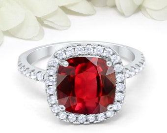 Natural Cushion Ruby RingWomen Statement RingValentine Day Gift For HerEngagement RingJuly Birthstone RingPersonalize Women Tiny Ring