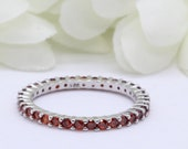 2mm Full Eternity Stackable Stacking Round Simulated Red Garnet Wedding Band Ring 925 Sterling Silver