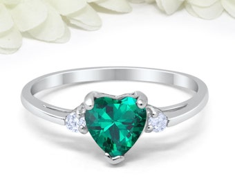 394616821 Heart Emerald Green CZ Promise Ring 925 Sterling Silver Round Simulated  Diamond Wedding, Engagement, Bridal, Valentines, Girlfriend,