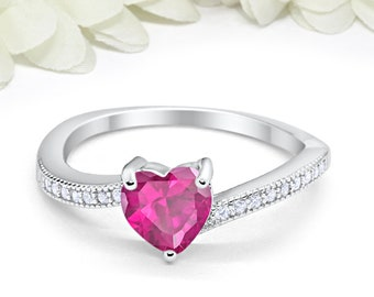 aa7ecc32e Pink Heart Ring 925 Sterling Silver Engagement Valentines Love Ring Round  Diamond CZ Accent Pink Stone