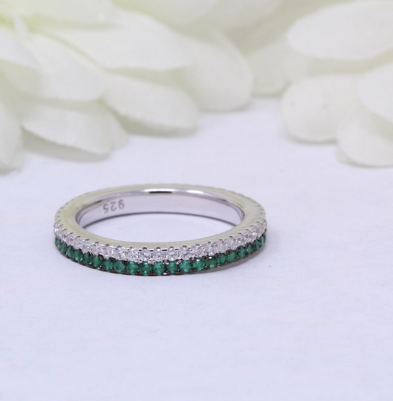 3mm Full Eternity Double Row Band Pave Round Emerald Green CZ Simulated Diamond Solid 925 Sterling Silver