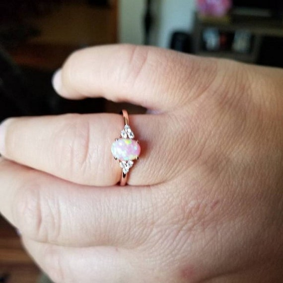 Fashion Ring Oval Lab Created White Opal Black Gold PL Sterling Silver Round Diamond CZ