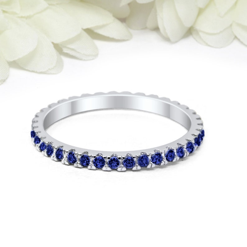 2b454f6099df4 2mm Full Eternity Stackable Band Ring Simulated Blue Sapphire CZ Solid 925  Sterling Silver Wedding Band, Eternity Band September Stone