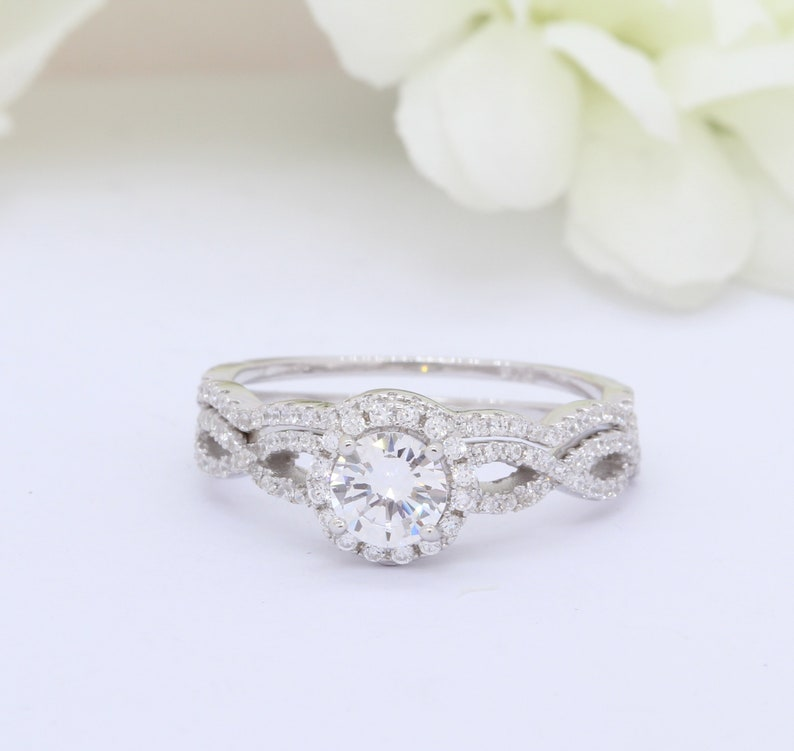 Vintage 1.00ct Round Simulated Diamond Art Deco Infinity Accent Dazzling Wedding Engagement Ring Band Two Piece Round CZ 925 Sterling Silver