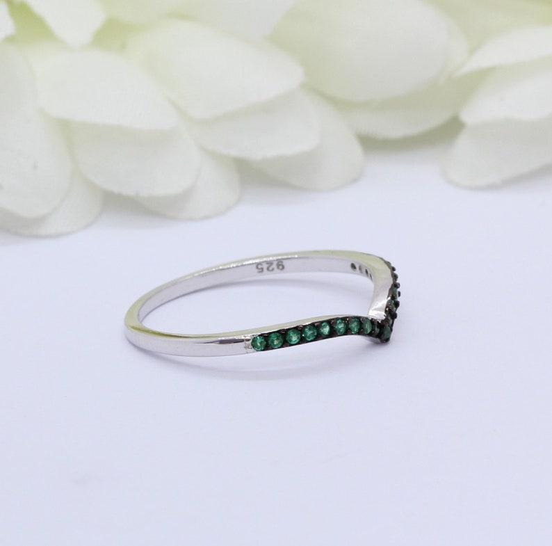 2mm Half Eternity Chevron Midi Ring Round Simulated Blue Sapphire Thumb Ring 925 Sterling Silver V Ring