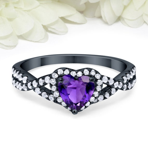 Round Amethyst Diamond Simulant Ring Black Gold Sterling Silver Ring Three Stone Wedding Engagement Promise Ring