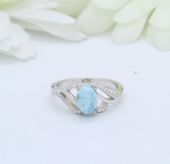 Natural Larimar Halo Wedding Engagement Set Art Deco Ring Band 925 Sterling Silver Round Simulated Diamond CZ
