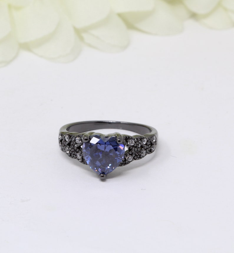 Art Deco 1.74CT Heart Tanzanite CZ Promise Ring Black Gold Sterling Silver Round Simulated Diamond