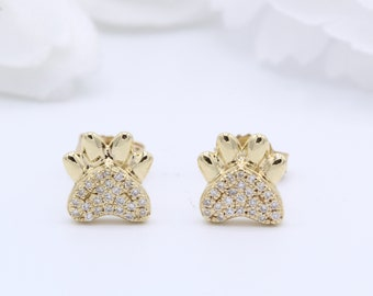 6mm Small Paw Diamond Stud Earrings Round 0.08 TCW G SI Diamond 14k Rose Gold Yellow Gold White Gold Stud Paw Print Earring Baby Earrings