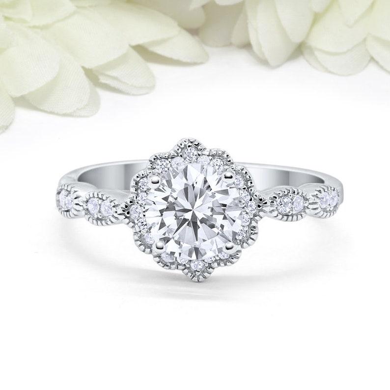 474e1b9302654 Art Deco Vintage Wedding Engagement Ring Bezel Round 1.25CT Morganite  Diamond CZ Solid 925 Sterling Silver Bridal Ring Art Deco