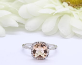 Halo Cushion Cut 2.75 Carat Simulated Peach Morganite Wedding Engagement Ring Round Diamond CZ Accent Sterling Silver