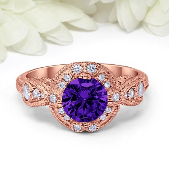 Bague de fiançailles de style art déco 1.28 Carat rond violet améthyste CZ  simulé diamant CZ ... 001d9b2c13d1