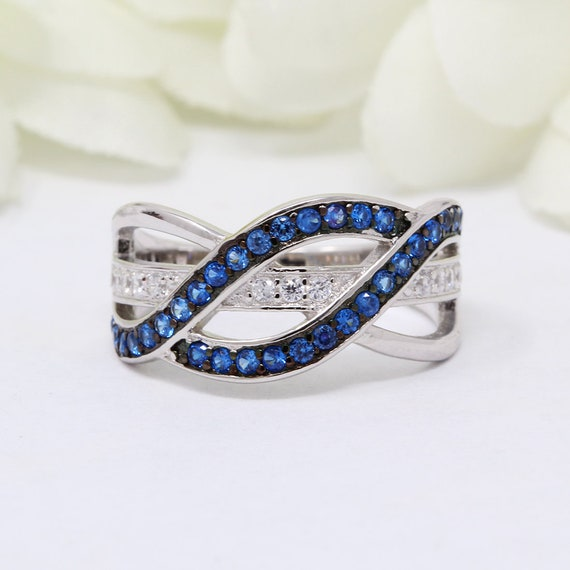 Weave Crisscross Infinity Ring Round Simulated Sapphire Diamond CZ Solid 925 Sterling Silver