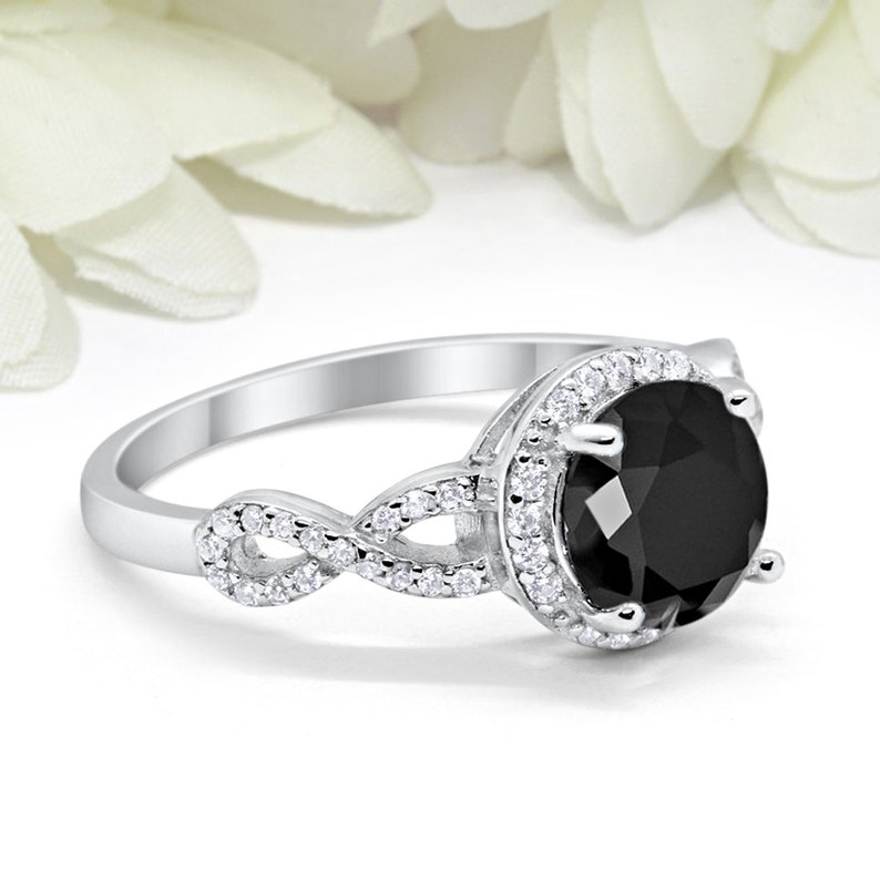 Round 2ct Black Diamond CZ Art Deco Vintage Wedding Halo Engagement Ring Infinity Shank Solid 925 Sterling Silver Bridal Ring Art Deco