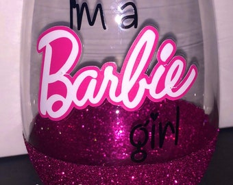 8b53231b4c24 I m a Barbie Girl Glitter Dipped Stemless Wine Glass