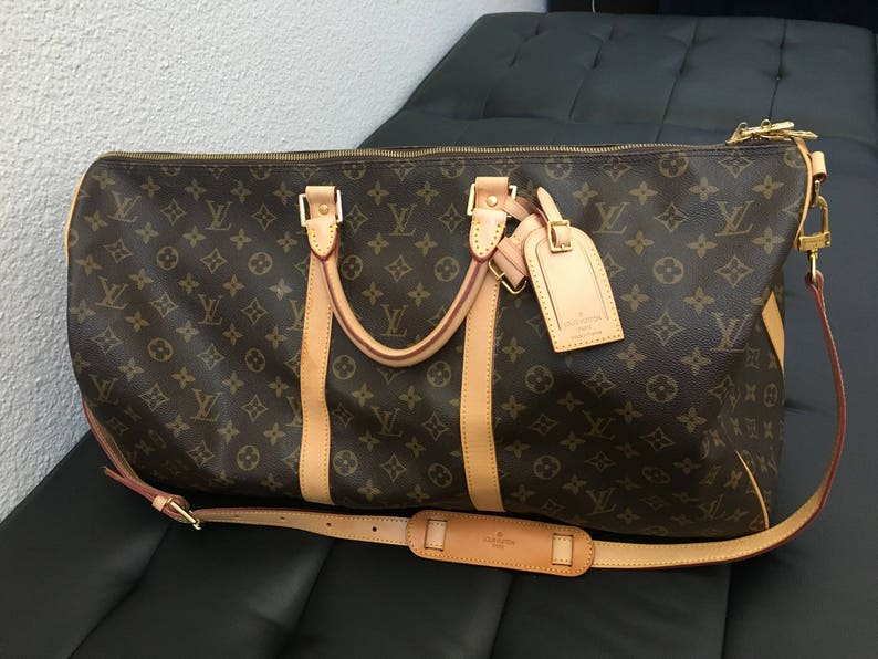 100% Authentic LV Louis Vuitton Bandoulière Keepall 55 + Luggage tag +  Handle P... 100% Authentic LV Louis Vuitton Bandoulière Keepall 55 +  Luggage tag + ... edc69a93f03fa