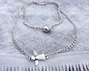 Angel Necklace...Angel boho necklace \ Short angel necklace \ Chain necklace with angel charm \ Delicate boho necklace
