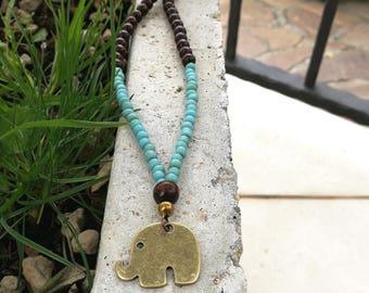 Elephant Necklace...Elephant glass beaded necklace / Short elephant necklace / Elephant charm short necklace / Elephant ethnic choker