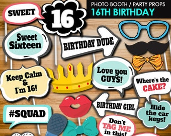Sweet Sixteen Photo Booth Props 16th Birthday Party Printables Teen Decors PB25