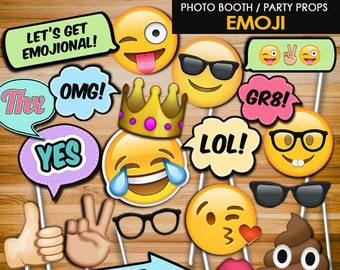 Emoji Birthday Party Props Photo Booth Teen Printables Decorations PB6