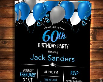 60th Birthday Invitation For Men Black Blue Elegant Invitations Surprise Any Age Adult BA12