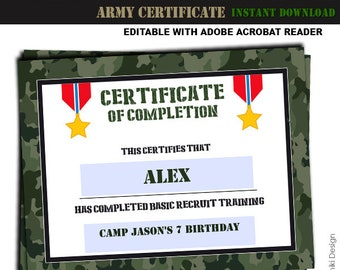 Army Printables Training Certificate Military Boot Camp Camouflage Birthday Party Editable Pdf INSTANT DOWNLOAD AC2