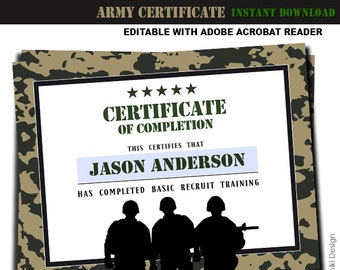 Army Printables Training Certificate Military Boot Camp Camouflage Birthday Party Editable Pdf INSTANT DOWNLOAD AC1
