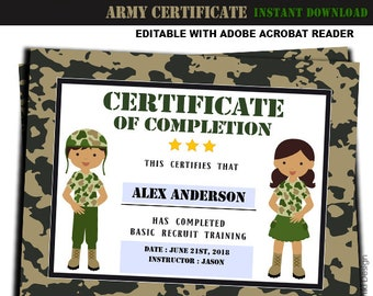 Army Printables Training Certificate Military Boot Camp Camouflage Birthday Party Editable Pdf INSTANT DOWNLOAD AC3