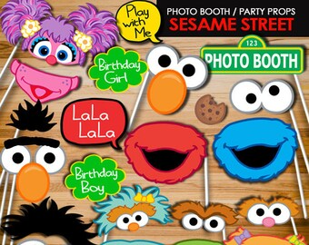 Elmo Sesame Street Photo Booth Props, Elmo party props, Sesame Street party sign, Photo Props, Photo Booth, Party Signs PB9