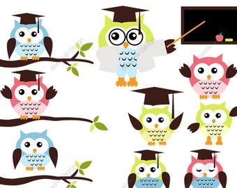 Owl Clipart, Wise Owls Clip Art, Back To School Clip Art, Graduation School Clipart, Scrapbook Art and Craft  INSTANT DOWNLOAD CLIPARTS C26