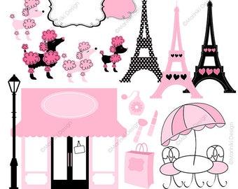 4e98619be4d Pink Poodle in Paris Clip Art, Boutique Store Front Clipart, Ooh La La  Paris Clipart for Invitations INSTANT DOWNLOAD CLIPARTS C53