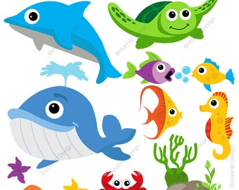 Under The Sea Clipart Animal Clip Art Ocean Fish Graphics For Party Invitations Scrapbook INSTANT DOWNLOAD CLIPARTS C89