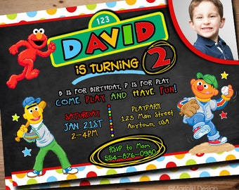 Elmo Invitation Birthday Invitations Sesame Street Party Printables 1st 2nd 3rd Any Age BK91