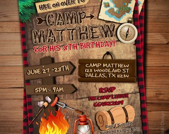 Camping invitations etsy camping birthday invitation campout sleepover invitations camp outdoors hike on over camp party boys camping birthday printables bk49 filmwisefo